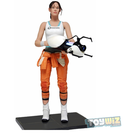 whatthechell:  Chell Action Figure now available for pre-order from ToyWiz.com! From ToyWiz.com:  Name: Chell with Light-Up Portal Gun Manufacturer: NECA Series: Portal 2 Release Date: February 2013 For ages: 4 and up Details (Description): The most wanted and requested Valve figure is finally a reality. The protagonist Chell comes highly detailed in her orange Aperture Laboratories Jumpsuit. Chell is fully poseable with over 20 points of articulation and a display base. Articulation includes ball jointed neck, shoulders, torso and wrists along with insert molded ball hinged elbows and knees and more. Even more impressive is her ASHPD accessory which actually lights up and glows blue just like in the game and as seen in the full size ASHPD prop replicas.   AHH