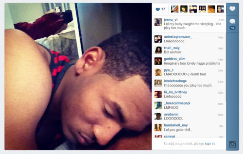 "theclearlydope:  ""LOL my baby caught me sleeping .. she play too much."" My right hand always be playing.   via alcoholicgifts:"