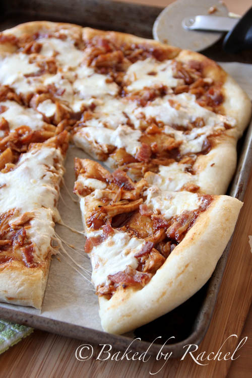 gastrogirl:  bacon and bbq chicken pizza.