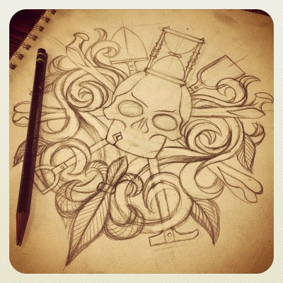 jobyc:  Everyone loves a secret society. #tattoo #tattooart #traditionaltattoo #pencilsketch #illustration #art #skullandbones #hourglass #skull #cattattoo #joby #jobyc #jobycummings (at Skull & Bones)