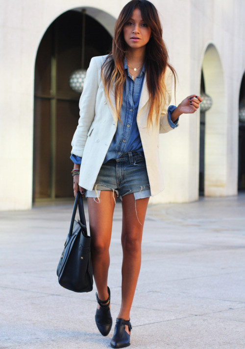 Shirt: Bella Dahl  |  Shorts: Levi's  |  Blazer: Lovers & Friends  |  Booties: Senso (textured ones here) |   Necklaces: Jennifer Zeuner  |  Bag:  Celine