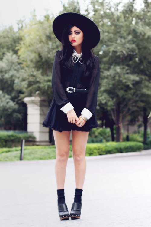 Hat - ZaraWig - Serge'sSkull necklace - Danielle ChristineWitch blouse - YES STYLEBelt - BrightonPetticoat skirt - CHICWISHClogs - Candie's