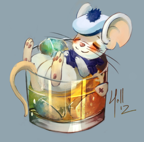 A drunk mouse. Belongs to another friend who apparently likes to drink. A lot.