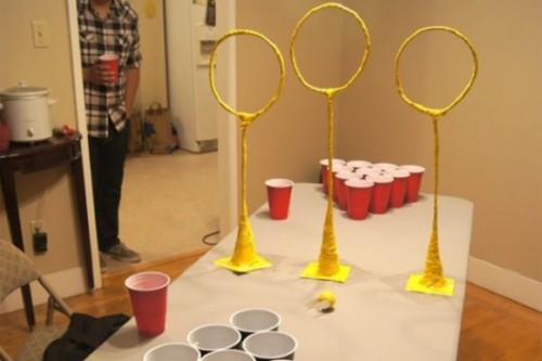 Yes, this is Quidditch beer pong And yes, there are rules that differ slightly from normal beer pong. Via