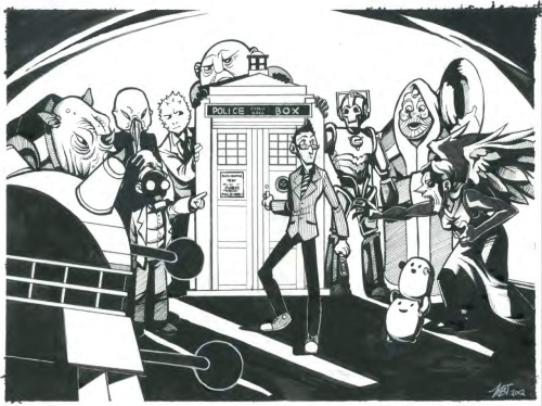 thisonesforquentin:  Dr. Who commission from Lascocks. Lookit it! It has everyone, even Tuba Santa the scariest of all monsters.   THE THIGN A THING I DREW