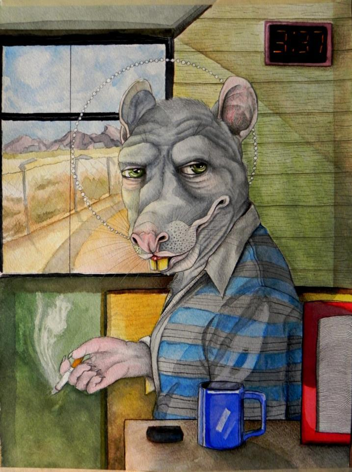 "eatsleepdraw:  ""Rat has a smoke somewhere""Watercolor on paper. http://brotherratworks.tumblr.com/"