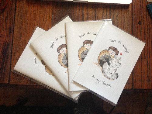 sophieblackhallcain:  GIVEAWAY TIME!!! I have five Stark Valentine cards each worth $6.50 to give away! The ink did not set properly on them so you'll have to keep it in its packaging, but the paper is too fancy to throw away and they look like miniature prints anyway! All you have to do to have a chance at winning is to reblog this post. In a week (4/12/12) I'll randomly pick five winners!  I've posted about Sophie's work previously and now she's doing a giveaway! Get yourself over to her blog and reblog her post to hopefully score an adorable card.