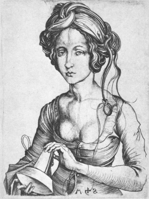 Martin Schongauer (1450-1491) A Foolish Virgin Engraving 143 mm (5.63 in) x 108 mm (4.25 in) 1480s