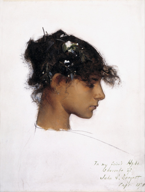 John Singer Sargent (1856-1925) Rosina Ferrara, Head of a Capri Girl Oil on cardboard Signed, inscribed, and dated by the artist at lower right, To my friend Hyde / souvenir of / John S. Sargent / Capri 1878 12 7/8 x 9 7/8 in. 1878