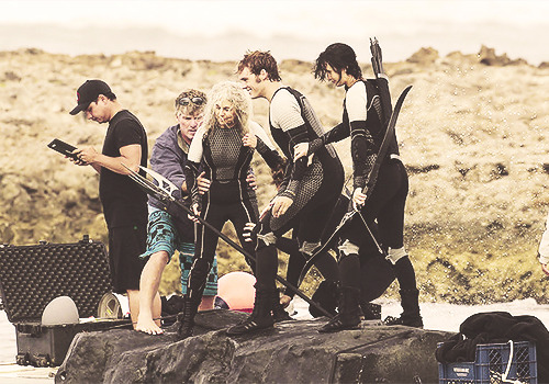 on the set of Catching Fire!