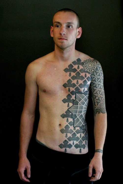 thestarlighthotel:  Front and arm patterns tattooed by Vincent Hocquet at Beautiful Freak Tattoo