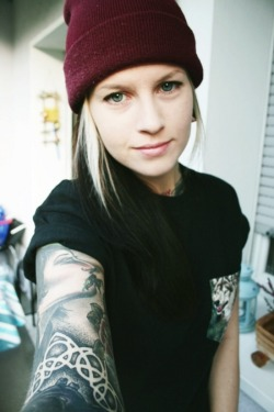 beanie tattoos inked tattoo inked girl ink tattooed tattooed girl sleeve blackwork tattoo sleeve vertical black work