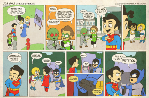 jl8comic:  JL8 #92 by Yale Stewart Based on characters in DC Comics. Creative content © Yale Stewart. Like the Facebook page here! Archive —-A happy birthday (albeit a day late) to the late, great Charles Schulz. You're very missed, Sparky.