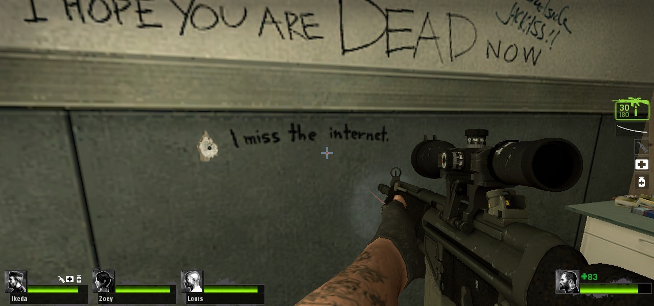 thatfunnyblog:  Of all the sad messages on the walls in Left 4 Dead, this one is the most tragic of all.