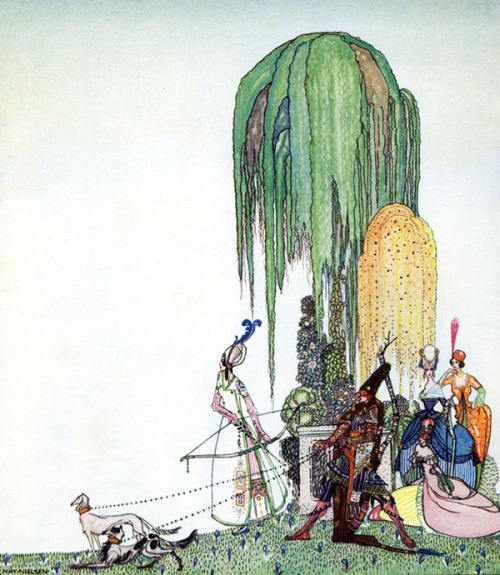 olosta:  KAY NIELSEN, Czarina's Archery, Illustration from In Powder and Crinoline: Old fairy-tales as retold by Sir Arthur Quiller-Couch