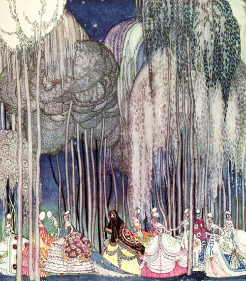 olosta:  KAY NIELSEN, The Princesses on the way to the dance, Illustration from In Powder and Crinoline: Old Fairy-Tales retold by Sir Arthur Quiller-Couch