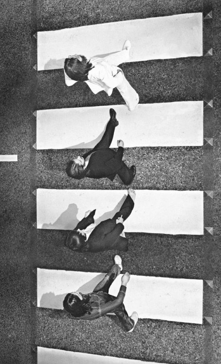 theswinginsixties:  The Beatles' Abbey Road photoshoot from a different angle, 1969.