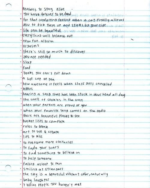"w—all-flower:  Matthew Gray Gubler's reasons to stay alive :') hold me!  ""Orgasms."" That about sums it up. Though ""rules to break"" and ""to fade your scars"" are up there as well."