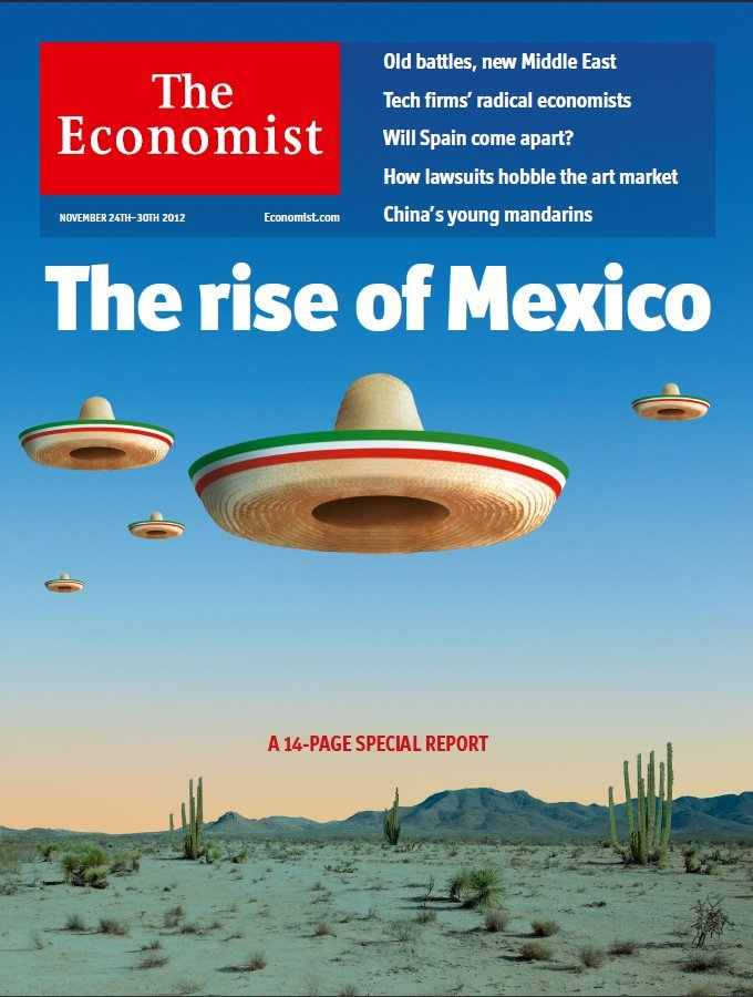 erina:  theeconomist:  This week readers in Latin America get their own cover, promoting our special report on Mexico. America needs to look again at its increasingly important neighbour.   Okay this article talks about how the US needs to take Mexico more seriously, but what about taking the Economist seriously with a cover like this?  Flying SOMBREROS, really?!? Ugh.