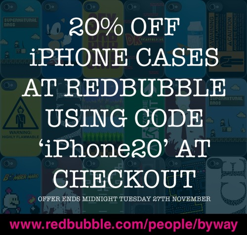 You can get 20% off iPhone cases right now over at www.redbubble.com/people/byway but the offer ends midnight tonight so use the code 'iPhone20' while you can!