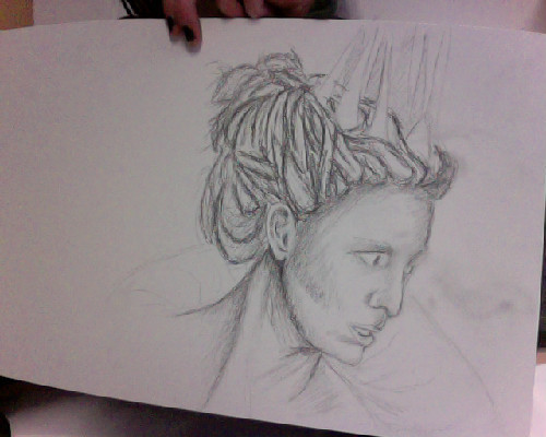 just sketching the white witch from narnia, the pencil strokes got all smudget out .-.