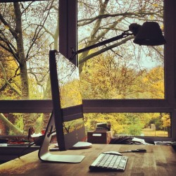 (via What a spectacular view of the fall foliage from this desk.)