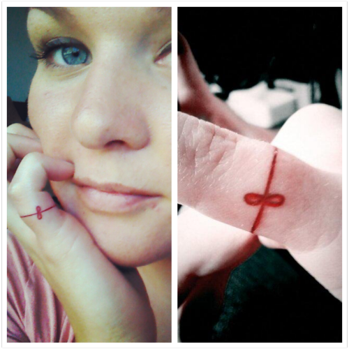 "fuckyeahtattoos:  My little red string of fate.I got this done in Havelock, NC at a shop called Immortals. Done by Oily :) ""two people connected by the red thread are destined lovers, regardless of time, place, or circumstances. This magical cord may stretch or tangle, but never break."""