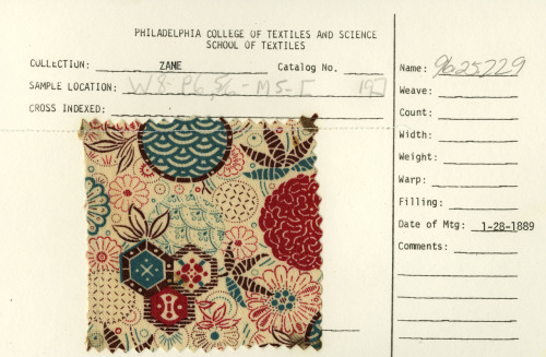 thedesigncenter:  Floral and geometric print on cotton.  January 28, 1889.  <3