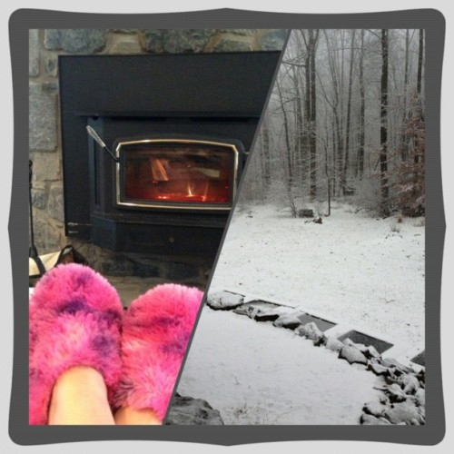 Snow, fuzzy slippers, and a fire. Yay! #project365 11.27.12 #PhotoShake