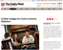 "MIT was ranked #20 on The Daily Meal's list of ""Best Colleges for Food in America."" Check out their article and slideshow by clicking the image above!"