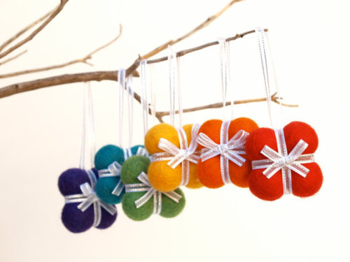 Handmade Gift Ornaments 6 RAINBOW decoration woodland by Fairyfolk