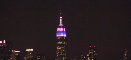 (via Video: See The Empire State building lights synced to Alicia Keys) Last night Clear Channel radio stations throughout NYC played Alicia Keys Girl on Fire andEmpire State of Mind in concert with The Empire State Building WATCH HERE