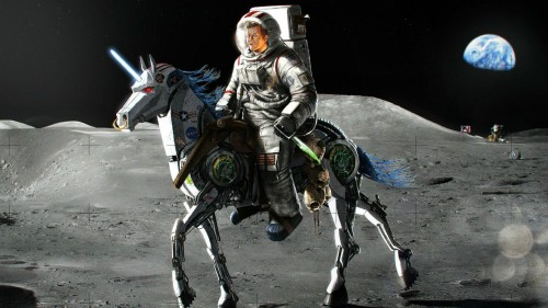 Just Kennedy on a Robot Unicorn on the Moon.