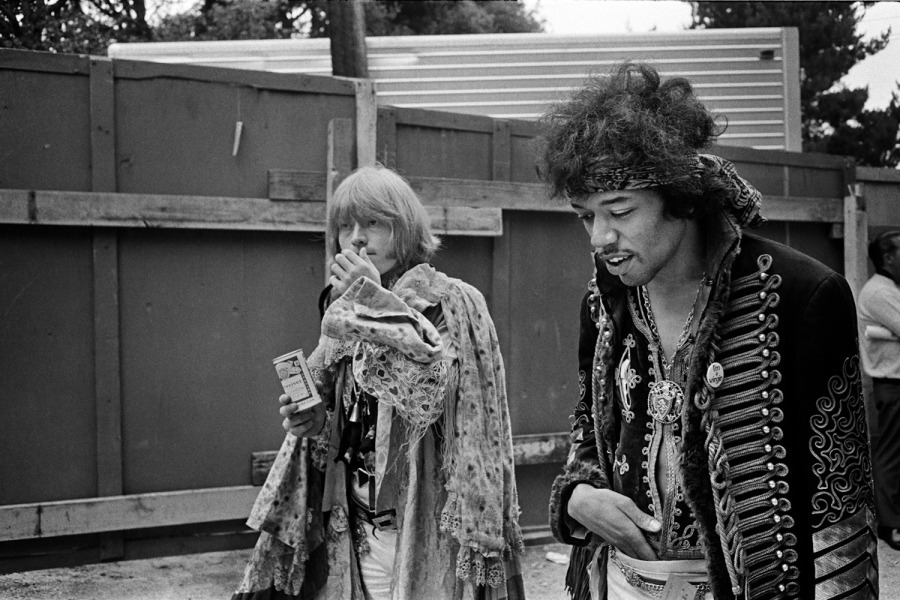Pictured: Jimi Hendrix and Brian Jones walk backstage at the Monterey Pop Festival, 1967  (© Jim Marshall Photography LLC) On what would have been Jimi Hendrix's 70th birthday, TIME presents rarely-seen photos of the guitar wizard by rock and roll photographer Jim Marshall. See more on LightBox.