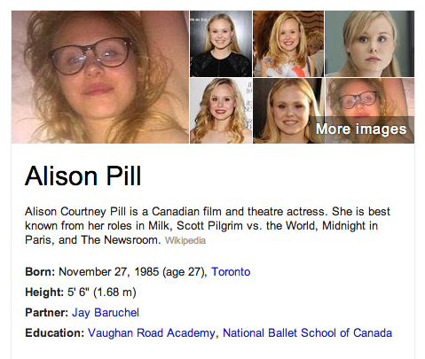 Sexy Twitpics are forever, Alison Pill learns from Google.