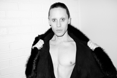 Jared Leto at my studio wearing his faux fur coat #2