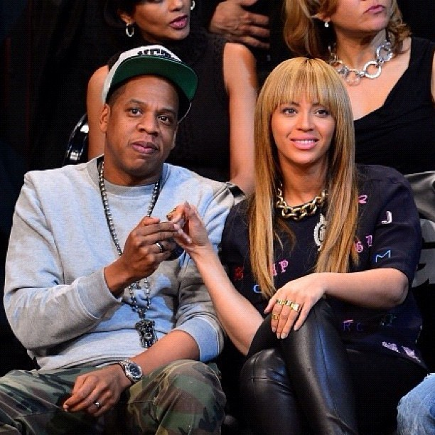 Jay-Z and Beyoncé and Jay-Z at the Nets game