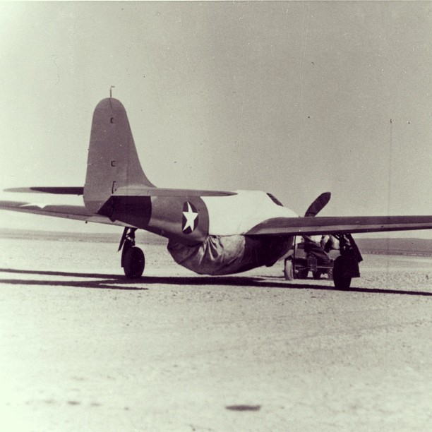 "In October of 1942, the Bell XP-59A Airacomet took flight, powered by two #GE I-A #jet #engines - the first jet engines made in the U.S. The I-A was developed in secret by a team of GE engineers, nicknamed ""The Hush-Hush Boys.""  In September of 1941, the team received a large package from England, containing one of the world's first jet engines developed by British Royal Air Force officer Sir Frank Whittle. Because of GE's extensive experience with turbo superchargers and steam turbines, the U.S. Air Force picked GE to improve on Whittle's design. And so, the Hush-Hush Boys launched the jet age in America. Get this - to conceal the jet engine power source, the Bell XP-59A was outfitted with a wooden propeller during ground transportation. (Image source: #USAF) #aviation #avgeek #engine #technology #history"
