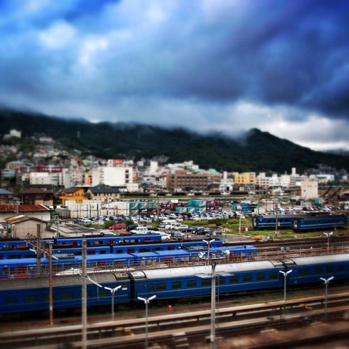 Trains in Nagasaki, Japan by Stacey Bramhall