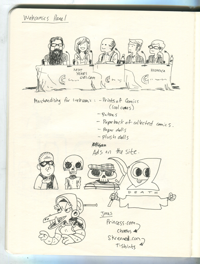 Notes from a panel during CCAD's MIX Comics Symposium about a month and a half ago. Jones is on right side end of the table.