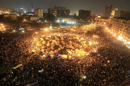 "thepeoplesrecord:  This is Tahrir Square in Cairo right now: occupied, lively & packed with protesters.  Anti-Morsi demonstrators filled the Square last night after a decree issued on Thursday expanded his powers and shielded his decisions from any sort of judicial review until the election of a new parliament expected in the first half of 2013. ""We don't want a dictatorship again. The Mubarak regime was a dictatorship. We had a revolution to have justice and freedom,"" 32-year-old Ahmed Husseini said in Cairo. Click here to watch a livestream of Tahrir.  Definitely a live-stream to keep bookmarked in the days and weeks to come. It seems a safe bet these protests will continue, until such a time as Morsi clarifies his intentions, or cedes back the extralegal authority he's claimed for himself."