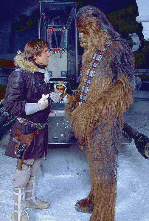 Harrison Ford and Peter Mayhew on the set of Star Wars: Episode V - The Empire Strikes Back (1980)