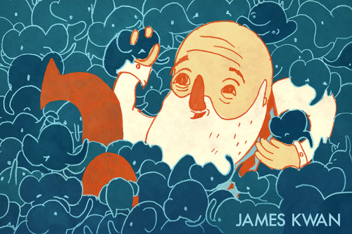 here's a little postcard image i made. it's an old senile man in a ballpit of tiny elephants.