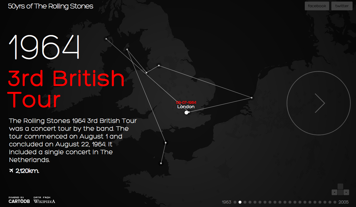 50 Years of concerts of The Rolling Stones An interactive map of their live-show story.