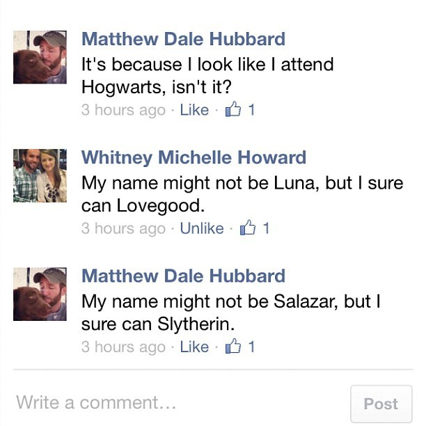 Today on Facebook, my friend Whitney and I made inappropriate Harry Potter jokes, and it makes me happy.