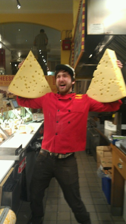 The holiday rush has given Sean the strength of ten cheesemongers. ROAR!