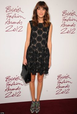 elizabethswardrobe:  Alexa Chung at the British Fashion Awards.