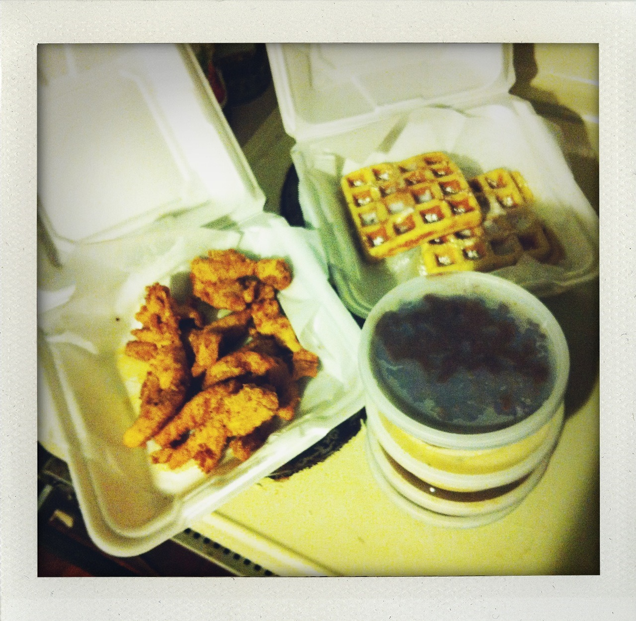 chicken strips and waffles and all the sides (4) from mack and dubs.  sadly they are facing some kind of suspected arson damage right now and have been closed for a week. they are the best! best side was the red beans and rice but they were all good.