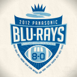 "End-of-season t-shirt for ""Panasonic Blu-Rays"" flag football team"