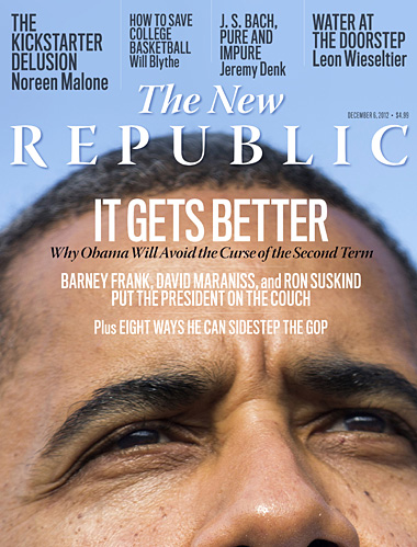 ICYMI Tumblr Fans: The New Republic's post-election issue features Timothy Noah on obstacles to the Obama agenda, Alex Pareene on jokes and the political class, John B. Judis on permanent majorities, and David Greenberg on the myth of second term failure. Also, don't miss Joshua Cohen on the ghosts of Atlantic City, Will Blythe on how to save college basketball, Jed Perl on Andy Warhol's legacy, and Leon Wieseltier's lessons from Hurricane Sandy.